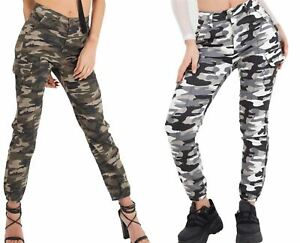 Womens Camouflage Trouser Jeans Ladies Camo Cargo Pant Skinny Army Bottom