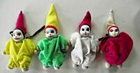 Porcelain Face Sand Stuffed Clown Dolls Set of 4