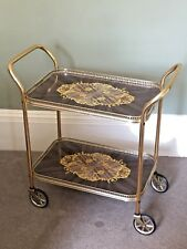 Vintage Two Tier Hostess Trolley Tea Drinks Brass Wood Effect Trays Unique Retro