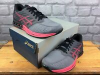 ASICS LADIES UK 4.5 EU 37 FUSEX TITANIUM AZALEA BLACK MESH TRAINERS RUNNING AD