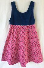 Girls Size 6 Home Sewn Floral And Love Heart Print  Corduroy Dress