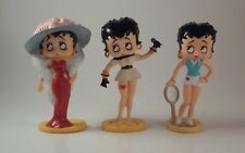 Lot of 3 Betty Boop Figurines 4 inch Plastic Pop Star Singer Diva Tennis Player