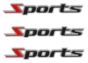 "(3 x Pcs)  Black Red Metallic ""Sports"" Car Badge - Self Adhesive"