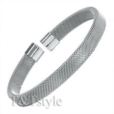 TRENDY T&T 316L Silver Stainless Steel Mesh Cuff Bangle (BS40)