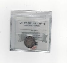 **1891** Straits Settlement, 10 Cents Coin Mart Graded**EF-45** KM #11