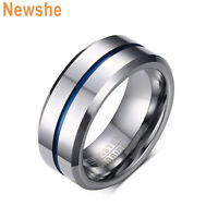 Newshe Tungsten Rings For Men Wedding Bands Groove Ring Carbide Blue Line 8mm