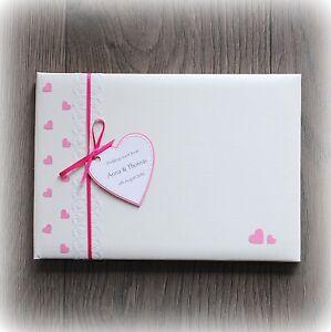 Beautiful Luxury Personalised Wedding Guest Book/ Handmade + Box