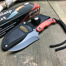 "7"" Sharp Shooter Orange Camo Hunting Skinning Fixed Knife + Sheath Rite Edge New"