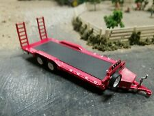 CUSTOM flat bed trailer 1/64 scale DCP farm diorama car hauler Hitch GREENL TOW