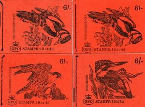 GB 4 different 1968 6/- Birds booklets comprising  SG QP39 & QP41/3