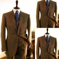 Vintage Brown Men 3 Piece Suits Wool Blend Herringbone Tweed Formal Work Tuxedos