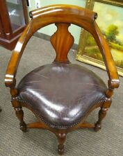 Maitland Smith Carved Mahogany Leather Corner Chair