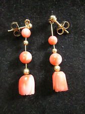VINTAGE 14K YELLOW GOLD CARVED CORAL DANGLE EARRINGS
