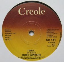 """RUBY WINTERS - I Will! - Excellent Condition 7"""" Single Creole CR 141"""