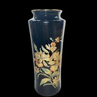 "Vintage Tall Vase ACTION Japan Black w/ Yellow Red Flowers Gold Rim Elegant 11""H"