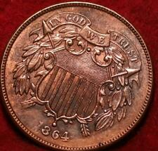 1864 Copper Philadelphia Mint Two Cent Coin