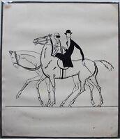 Les Cavalières Encre originale ART DECO ca 1930 provenant des Ateliers R PICHON
