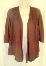 Splendid Anthropologie Open Front Cardigan S NWT Chocolate Pointed Front Shirr