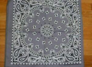 """Bandannas Made in USA Measures a full 22"""" x 22"""" Traditional Paisley Charcoal"""
