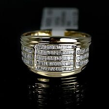 New Mens Yellow 10K Gold Genuine Real Diamond Ring Cocktail Fashion Pinky Band