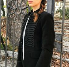 Zara Negro Terciopelo piel de topo Frock Abrigo Chaqueta Estilo Militar Talla S UK 8
