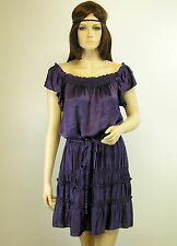 THEORY - Size S - Purple Crinkled Satin Ruffled Tiered Skirt Dress Cap Sleeve