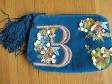 Anthropologie Monogram B Velvet Pouch With Tassel  Teal Blue Anna Harlow