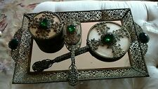 SHABBY ANTIQUE VTG jeweled rhinestone vanity PERFUME TRAY MIRROR set ORMOLU