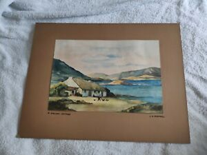 A Galway cottage Irish watercolour painting - JS Fairfoull