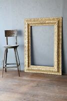 "Antique Carved wood Picture Frame Gold Arts Crafts Oil Painting 48"" X 34"" Large"