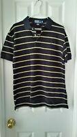 Polo Ralph Lauren S/S Black Yellow stripe Polo Shirt Sz M Cotton Mesh