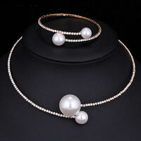 Big Ball Choker Collar Necklace Bracelets Set Women Wedding Jewelry