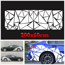 200x60cm White Triangles Vinyl Decal Car Side Freestanding Sticker For Decoratio