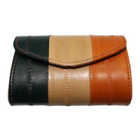 Genuine Eel Skin Leather Button Coin Purse Rectangle Small Mini Coin Wallet