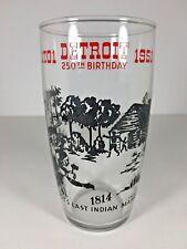 Vintage 1951 Detroit MI 250th Birthday Glass Commemorative Last Indian Massacre