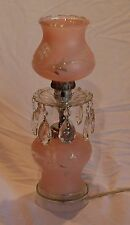 Antique  art deco pink grape and leaf bedroom accent lamp with crystal prisms