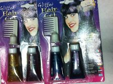 - lotto stock di 3 glitter GEL COLOR PER  CAPELLI  con pettine CARNEVALE HALLOWE