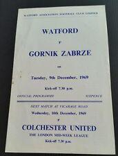 Watford v Gornik Zabrze Friendly Programme 09/12/69