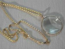 FABULOUS 5XPOWER MAGNIFYING GLASS LOUPE PENDANT NECKLACE ON LONG GOLD TONE CHAIN