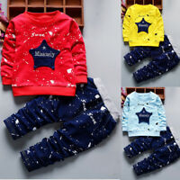 2PCS/Set Toddler Kids Baby Boys T-shirt Tops+Long Pants Tracksuit Casual Clothes