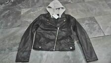 NWT H & M GIRLS MOTOR CYCLE JACKET BLACK FAUX LEATHER 14Y+
