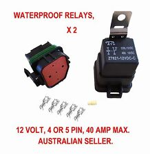 2 X WATERPROOF RELAY 12 V AUTOMOTIVE 4 5 PIN 40 AMP SWITCH 12 VOLT BOAT WIRE CAR