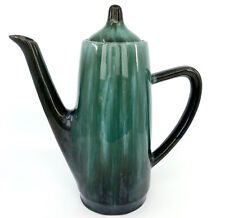 Blue Mountain Pottery Coffee Pot BMP Teapot 1960s Slim Green Glaze Label Vintage