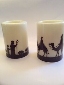 Christmas Flameless Pillar Candles: Shepherd with Child & 3 Wise Men - Set of 2