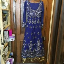mongas royal blue with gold embroidery bridal long dress size 10/12