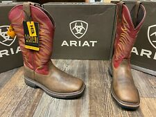 Men's Composite Toe WorkHog Wide Square Toe Tall II by Ariat. Tan/Red 8.5 EE