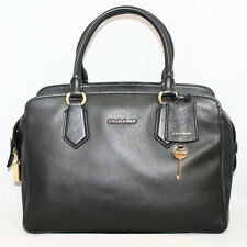 COLE HAAN Black Pebbled Lthr Convertible Doctor Satchel w/ Padlock & Gold Hdwr