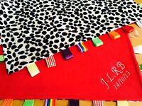 Luxury Baby Taggy Blanket-Moses Basket//Crib//Pram//Cot Pink Teddy Personalised