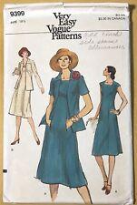 Vintage VERY EASY VOGUE Patterns 9399 Women's Size 18½ A-Line DRESS & JACKET