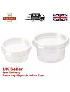 1000 X Clear Plastic Sauce Cups Lids 2oz/4oz Pot Round Container Chutney Quality